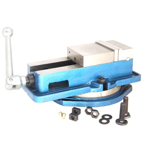 - Milling Machine Lockdown Vise - 360 Degree Swiveling Base - Hardened Metal - CNC Vise - Install Bolt Included. Blue (4in)