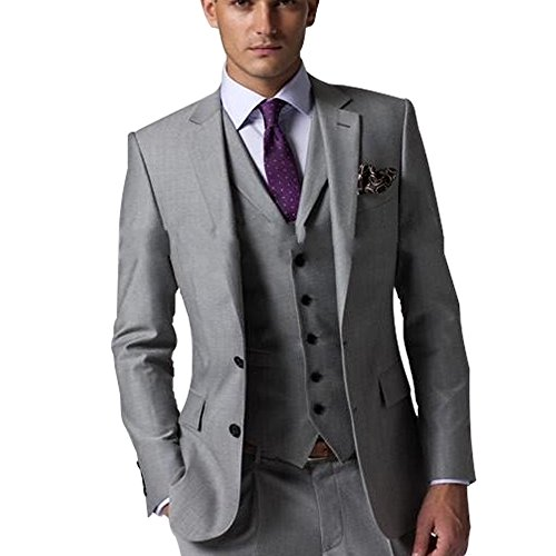 Nero 3 Light - HBDesign Men 3 Piece 2 Button Formal Slim Fit Fashion Business Suits Grey