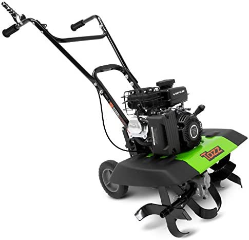 Tazz 35310 2-in-1 Front Tine Tiller Cultivator, 79cc 4-Cycle Viper Engine, Gear Drive Transmission, Forged Steel Tines, Multiple Tilling Widths of 11 , 16 21 , Toolless Removable Side Shields,Green