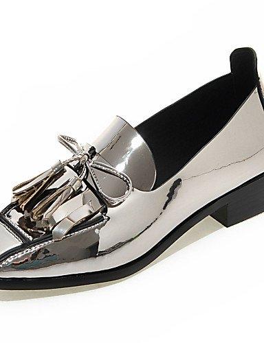 ZQ Zapatos de mujer-Tacón Robusto-Mocasín / Punta Cuadrada / Punta Cerrada-Mocasines-Oficina y Trabajo / Vestido / Casual-PU-Negro / Rojo / , silver-us8 / eu39 / uk6 / cn39 , silver-us8 / eu39 / uk6 / red-us5 / eu35 / uk3 / cn34