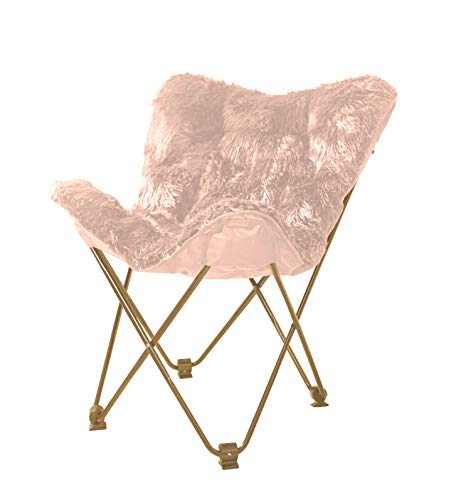Urban Shop Mongolian Butterfly Chair, Blush - Ideal for dorms, apartments, game rooms and more! Folds easily for storage when not in use - no assembly required Sturdy metal frame with Polyester faux fur fabrication - living-room-furniture, living-room, accent-chairs - 41DYJTNh5ZL -