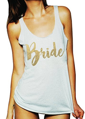 Emdem Apparel Bride Wedding Womens Bridal Tank Top White Gold LG