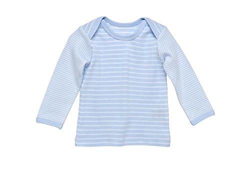 Under the Nile Baby Boy Lap Shoulder T-Shirt Size 3-6M Pale Blue Stripe Organic Cotton