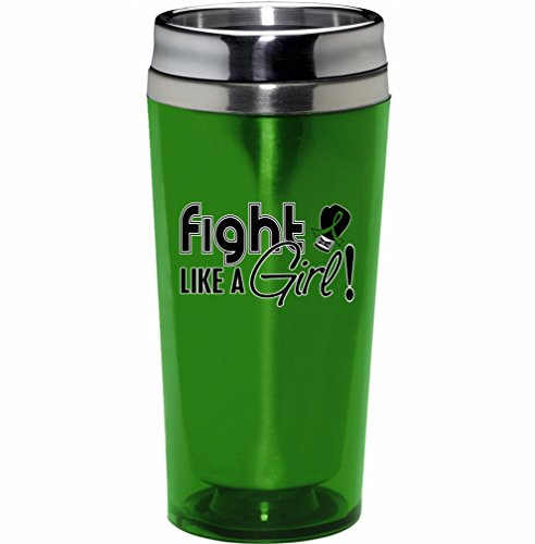 Fight Like a Girl Stainless Steel and Acrylic Travel Tumbler Mug (Lime Green)