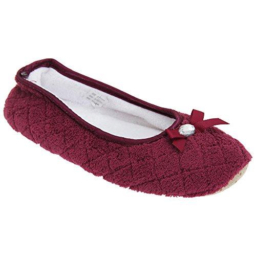 Lazo Bailarinas de con Textiles para Detalle Mujer Estilo Púrpura de Zapatillas Universal por casa Estar x07PwE0Rq8