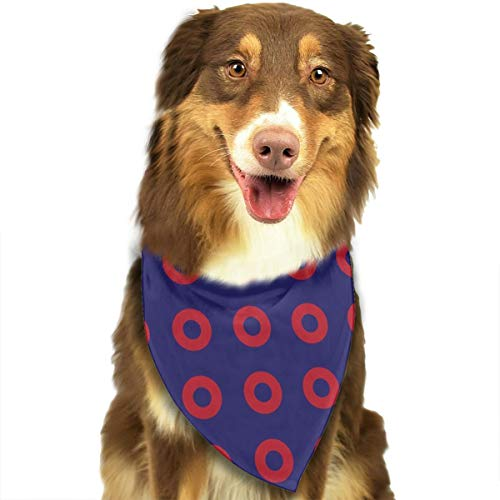 OURFASHION Phish Red Donut Circles On Blue Bandana Triangle Bibs Scarfs Accessories Pet Cats Puppies.Size is About 27.6x11.8 Inches (70x30cm). -