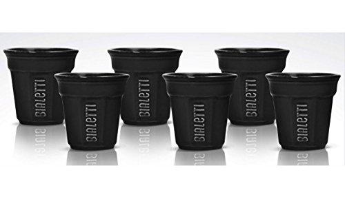 Bialetti Espresso Cups - Bialetti Ottagonali - Set 6 espresso coffee cups black