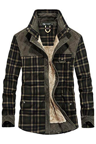 Mr.Stream Men's Outdoor Casual Vintage Long Sleeve Plaid Flannel Button Down Shirt Jacket Dark Green US M=Tag Asia 2XL (Outdoor Casual)