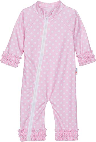 - SwimZip Baby Girl Long Sleeve Sunsuit with UPF 50+,Sassy Surfer Pink Dots,18-24 Months