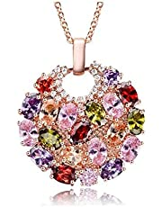 Rose Gold Necklace Studded with Colorful Zircon Stones