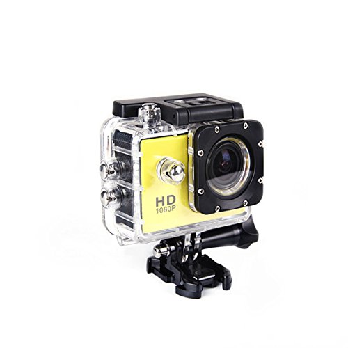 Digital Action Camera Waterproof Sports Camera Cam Camcorders Wifi HD 1080P 30fps 12MP 170 Degree Wide Angle and Helmet Accessories Kit- Waterproof 100ft (yellow) by Tyson