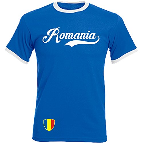 Rumänien - Ringer Retro TS - blau - EM 2016 T-Shirt Trikot Look Romania
