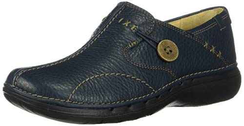 Clarks Unstructured Women's Un.Loop Slip-On,Navy,6.5 M US