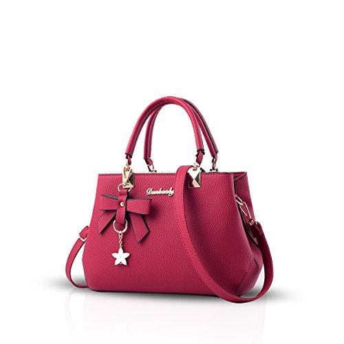 NICOLE&DORIS Bowknot Bolso Mujer Crossbody Bolsa de Hombro Impermeable PU Rojo Rojo