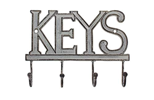 "Key Holder ""Keys"" – Wall Mounted Western Key Holder | 4 Key Hooks |Decorative Cast Iron Key Rack| with Screws and Anchors – 6x8""- Ca-1506-04 (Antique White)"