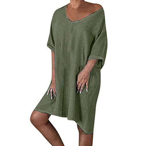 (SUNyongsh Boho Style Feminino Vestido Dress Women T-Shirt Cotton Casual Plus Size Ladies Dress Army Green)