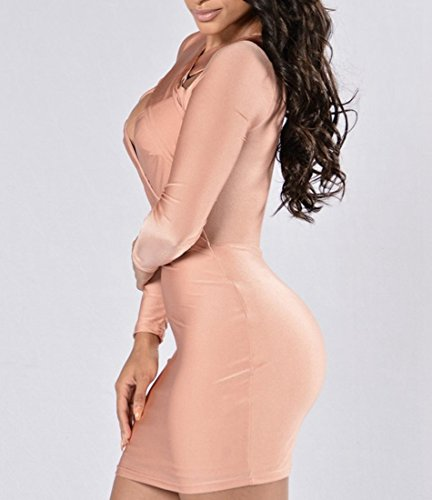 Clubwear Sleeve Dress Bandage Bodycon Comedy Mini Womens Long Open Sexy Pink Cut Fature Out Chest 4PTOY