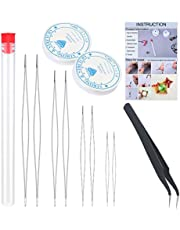12 Pcs Beading Needle Set, 8 Pcs Long Straight Beading Needle Big Eye Beading Needles with Storage Tube, Fishing Wire, and Tweezers for Jewelry Making