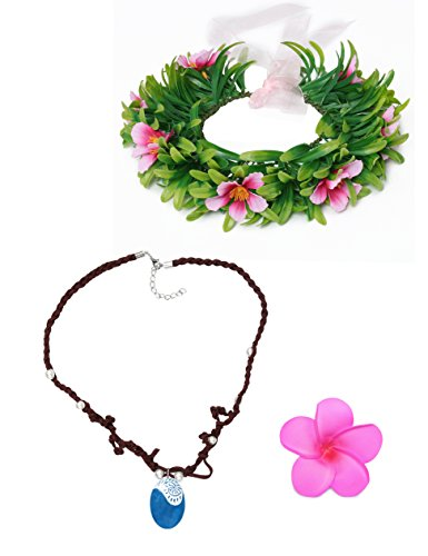 Muababy Girls Moana Necklace with Hawaii Flowers Garland Garland (Necklace with Headband for Girl)]()