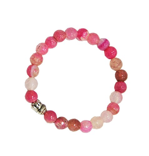 Aatm Natual Healing Gemstone Pink Agate Buddha Beaded Charm Bracelet for Healing and Meditation (Beads Size - 7-8 mm)
