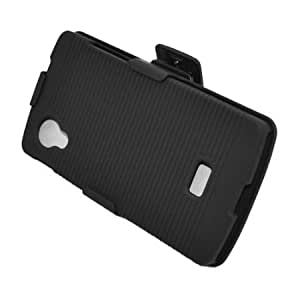 Cerhinu Eagle Cell Rubber Case with Stand and Holster for LG Nexus 5 - Retail Packaging - Black