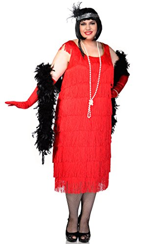 Deluxe Red Flapper Costumes (Elevate Costumes Plus Size Long Deluxe Roarin Red 1920's Flapper Costume)