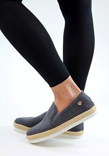 New Womens Flat Casual Plimsolls Flatform Espadrilles Comfy Slip On Pumps Shoes Grey uO0Sve