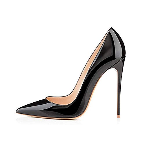 Elisabet Tang High Heels, Womens Pointed Toe Slip on Stilettos Party Wedding Pumps Basic Shoes (6, Black)