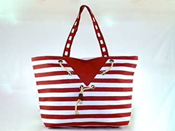 Lightweight Beach Bag / Beach Tote / Holiday Bag Red Stripes with ...