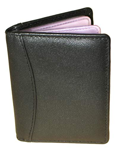 Genuine Super Soft Black Leather Credit Card Holder Wallet - Has 20 clear plastic pockets - 4 Further Card Slots - Portrait - 7.5cm (w) x 10cm (h)