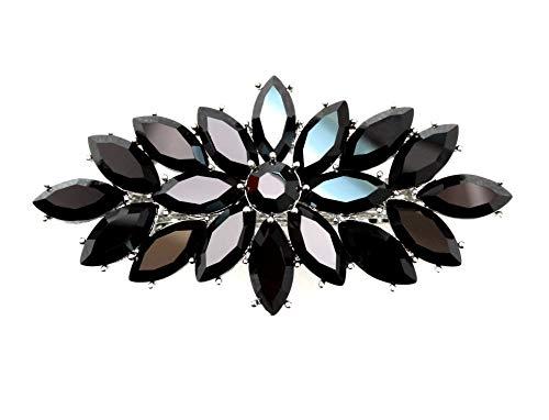 Faship Gorgeous Black Rhinestone Crystal Floral Hair Barrette Clip - Black]()