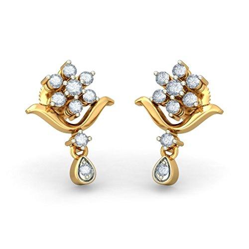 18K Or jaune 0,28CT TW White-diamond (IJ | SI) Pendants d'oreilles