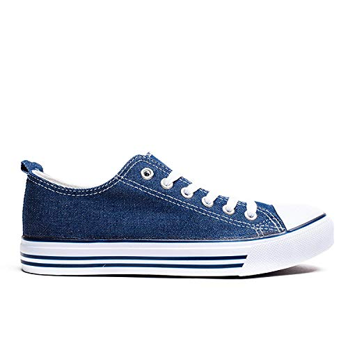 Women's Blue Top Canvas Sneakers Flat Lace Solid Fashion Colors Shop Low Navy Pretty Girl Casual Shoes up nxaUEHR