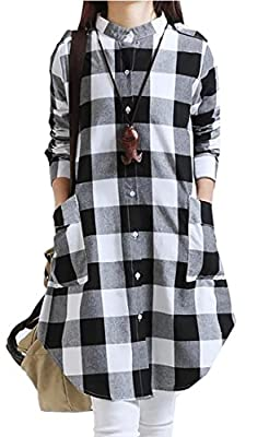 Zago Womens Pocket Plaid Curved Hem Irregular Button Down Shirts