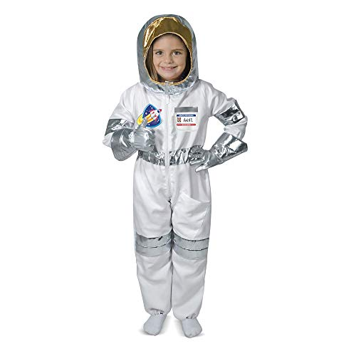 Melissa & Doug Astronaut Role Play Costume Set (5 pcs) - Jumpsuit, Helmet, Gloves, Name Tag -