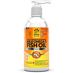 Wild Omega 3 Fish Oil - For Medium & Large Dogs - Antarctic Krill & Wild Caught Alaskan Pollock - EPA & DHA for Hip & Joint Support Supplement + Anti Itch Relief Skin & Coat Care Treatment - 16 FL OZ