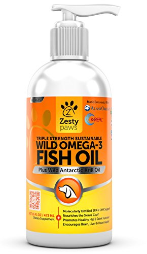 Krill Essentials Cardio Oil (Wild Omega 3 Fish Oil - For Medium & Large Dogs - Antarctic Krill & Wild Caught Alaskan Pollock - EPA & DHA for Hip & Joint Support Supplement + Anti Itch Relief Skin & Coat Care Treatment - 16 FL OZ)