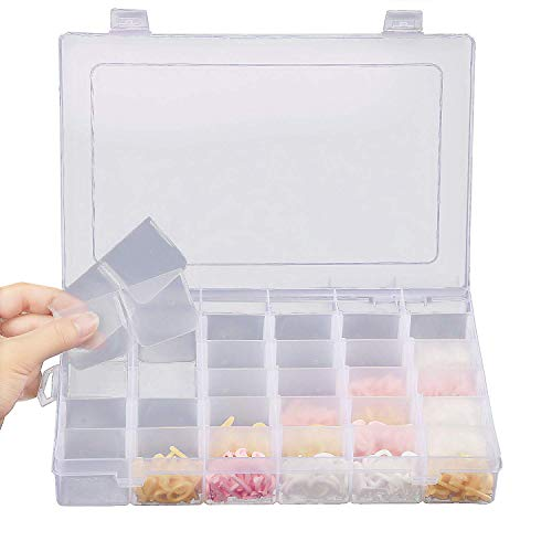 36 Grids Jewelry Organizer, Plastic Jewelry Storage Container Box, with Adjustable Dividers, Perfect for Storing Earrings,Rings, Beads, Mini Accessries Goods(10.8 x 6.88 X 1.57 in.) (36 grids Box)