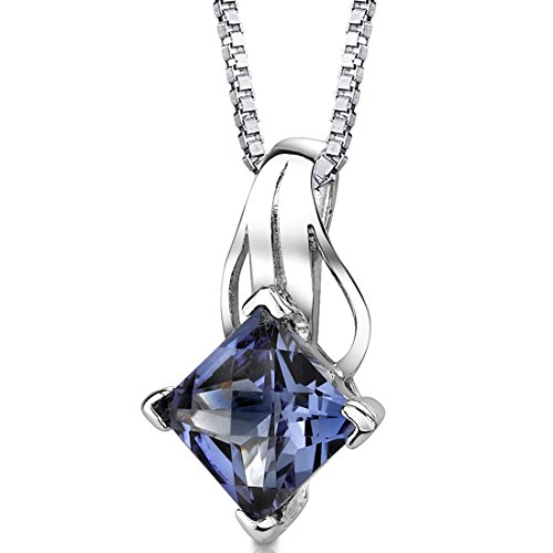 Princess Cut Simulated Alexandrite Pendant Sterling Silver Rhodium Nickel Finish 3.00 Carats