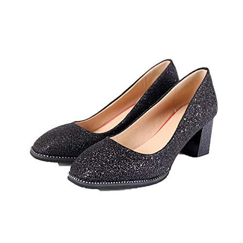 Fibre AgooLar Chaussures GMBDB010985 Femme Unie Correct Noir Talon Légeres à Super Couleur TI64qI
