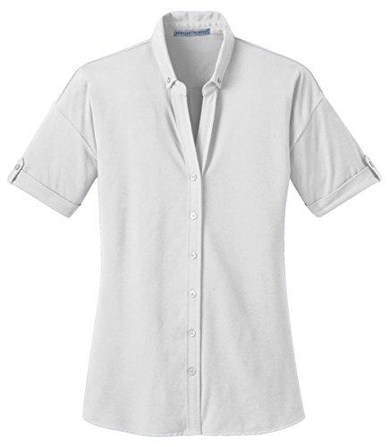 s Stretch Pique Button-Front Shirt, White, XXXX-Large ()