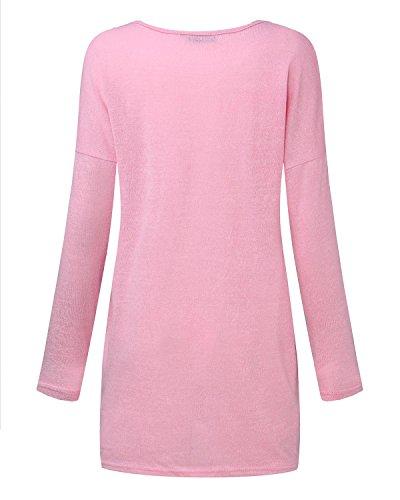 Loose T 402 Manica Top Maglie Collo Donna shirt Lunga V Rosa Maglietta Styledome wXvq46fx