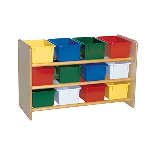 Wood Designs Kids Play Toy Book Plywood Organizer Wd13803 See-All Storage With (12) Assorted Trays by Wood Designs