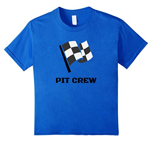 Costume Pit Girl (Kids Pit Crew T-Shirt Hosting Race Car Parties Flag Kids Parents 6 Royal)