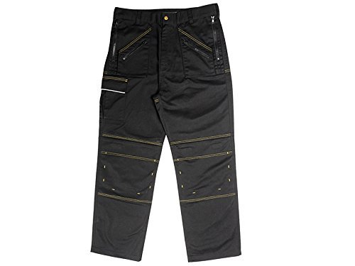Roughneck Clothing MZT4031 Multi-Zip Work Trouser with 40-Inch Waist/31-Inch Leg - Black by Roughneck Clothing