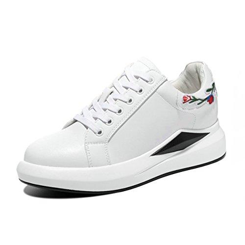 Sneakers la JRenok Casuel Loisir Baskets 35 à 40 Main Compensé CM 5 Femme à Broderie Sports de Cuir Blanc 6 Mode Chaussures Haute UwqHZrU