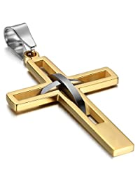 Oidea Mens High Polish Stainless Steel Cross Pendant Necklace Hollow Openwork Vintage Chain Included,Black,Blue,Gold,Silver