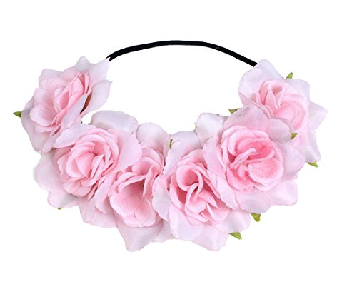 (Floral Fall Rose Holiday Christmas Crown Festival Headbands Hippie Flower Headpiece F-53 (Pink))