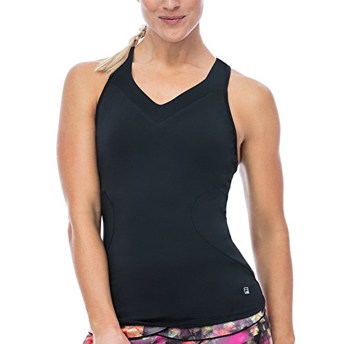 Trim Feather Tank (Fila Women's Print Trim Racerback Tank Shirt, Black, S)