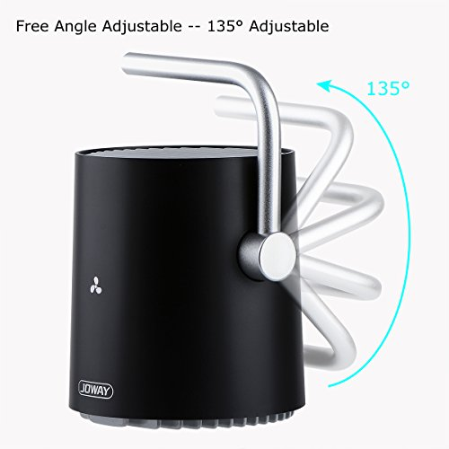 USB Desk Fan, Accering Portable Mini Desktop Small Fan with Touch Control, 5V USB Powered, Personal Table Fans Quiet Cooling for Home, Office, Dorm, Black (4 inch) by Accering (Image #2)